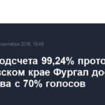 После подсчета 99,24% протоколов в Хабаровском крае Фургал достиг лидерства с 70% голосов
