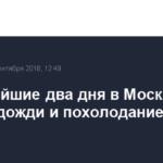 В ближайшие два дня в Москву придут дожди и похолодание